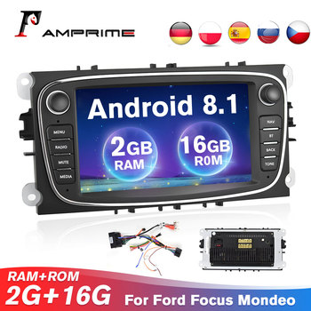 AMPrime Android GPS Car Radios 2Din Car Multimedia player 7'' Audio Video Player For Ford/Focus/S-Max/Mondeo/GalaxyC-Max 2G RAM image