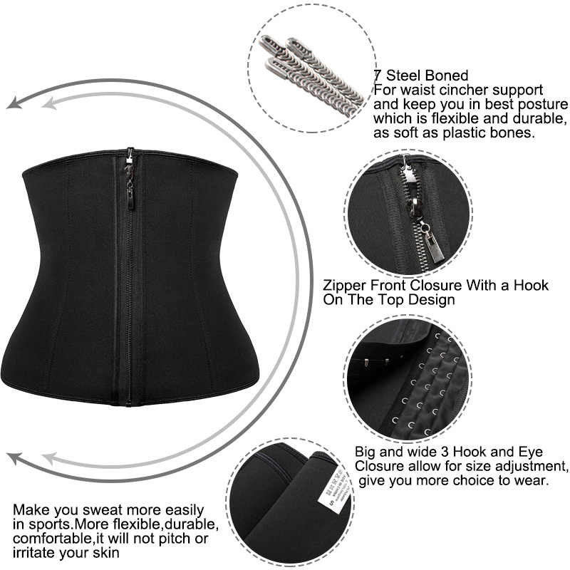 여성 복부 벨트 높은 압축 지퍼 네오프렌 허리 트레이너 Cincher 코르셋 바디 셰이퍼 Fajas 땀 Shapewear
