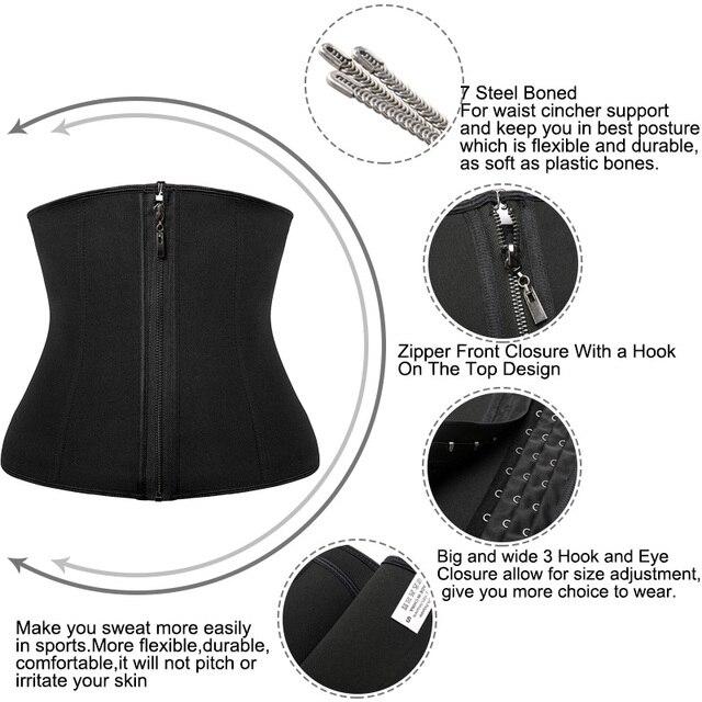 Women Abdominal Belt High Compression Zipper Neoprene Waist Trainer Cincher Corset Body Shaper Fajas Sweat Shapewear 2