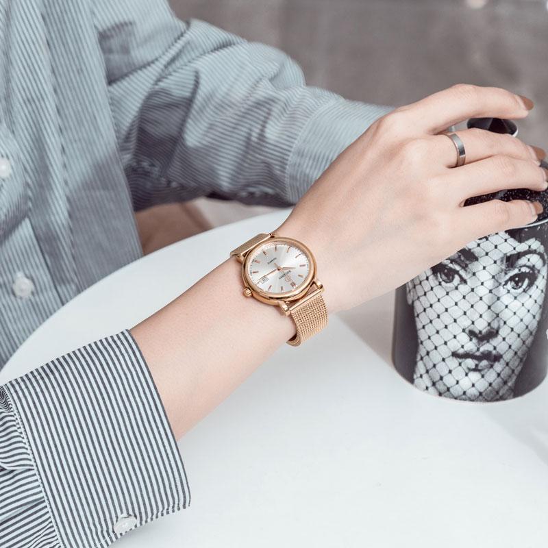 Movimento de Quartzo Suíço de Ouro de Luxo Moda Feminina Relógios Femininos Reloj Mujer 36mm
