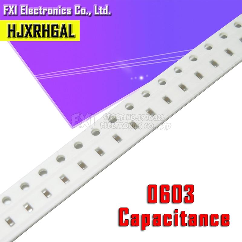 100pcs 0603 50V SMD Thick Film Hjxrhgal Chip Multilayer Ceramic Capacitor 0.5pF-22uF 10NF 100NF 1UF 2.2UF 4.7UF 10UF 1PF 6PF