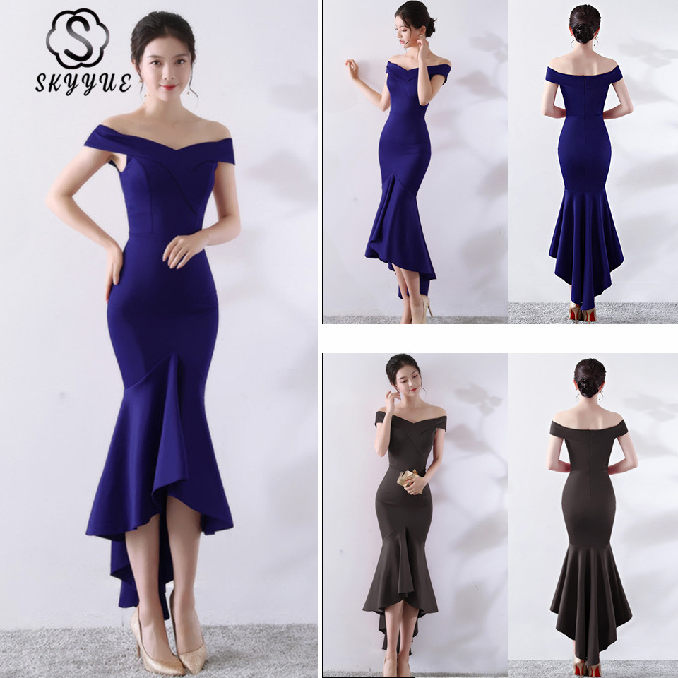 Skyyue   Evening     Dress   Boat Neck Women Party   Dresses   Soild Sleeveless Robe De Soiree 2019 Off The Shoulder   Evening   Gowns C144-DS2