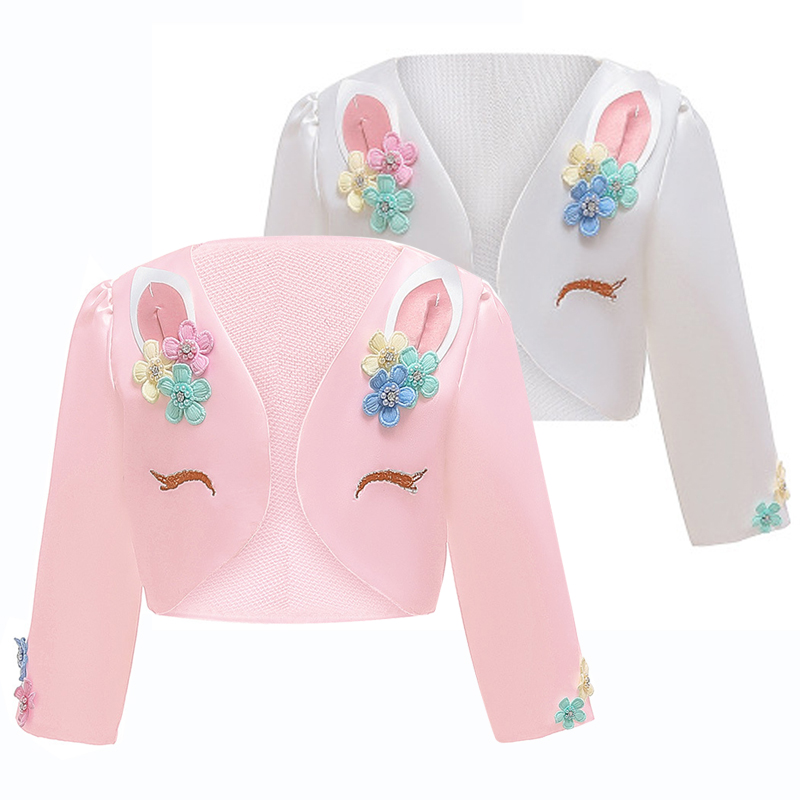 New Long Sleeve Outerwear Coat 3 to 12Y Girls Clothes Autumn White Pink Girls Long Sleeve Children Outfit For Unicorn Jacket