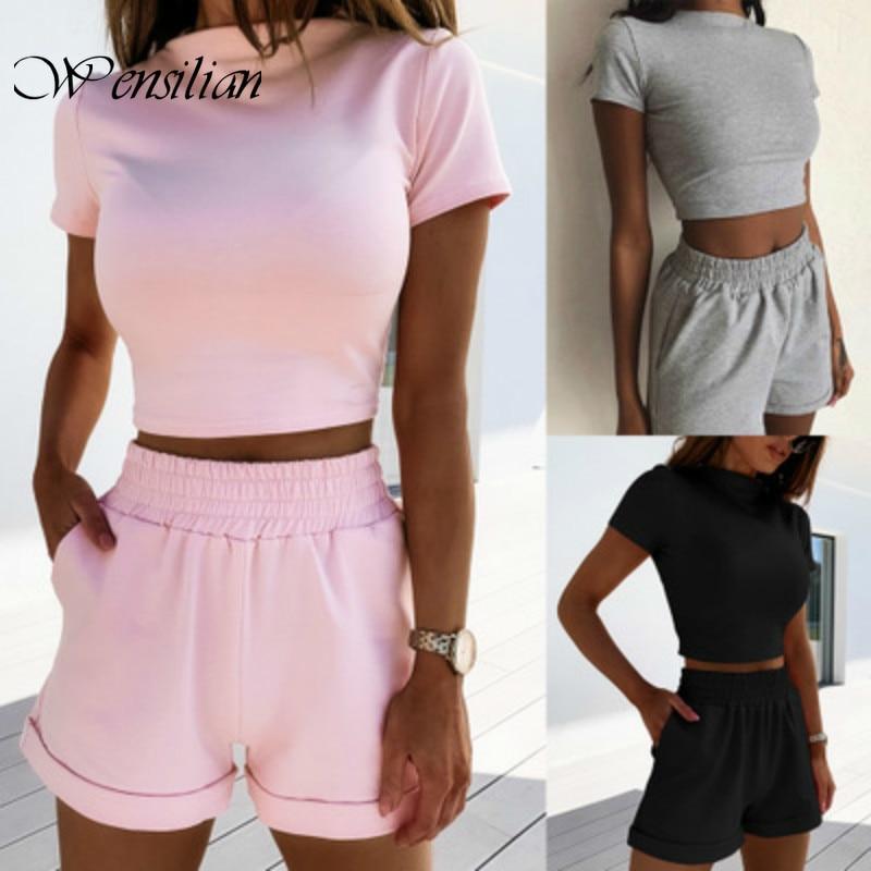 2 Piece Set Women Turtleneck Shorts Set Casual Womens Tracksuit Summer Sport Suit Loose Shorts Two Piece Female Crop Top 2020