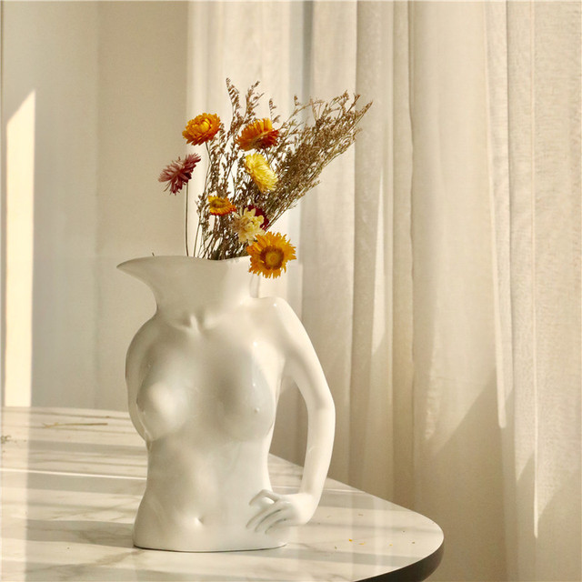 BAO GUANG TA Arts Girl Bust Vase Decor Interest Ass Statue Woman Model Vase Flower Pot Home Decoration Accessories Gift R5196 2