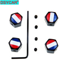 DSYCAR  4Pcs/Set France Flag Style Bike Motorcycle Car Tire Valve Stem Caps For Car/Motorcycle,Air Leakproof
