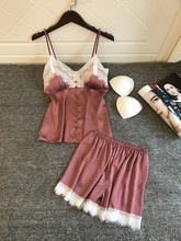 Lingerie sexy conjunto de pijamas feminino sexy estilingue shorts roupa interior rendas guarnição cetim bonito rosa pijamas conjuntos de lingerie lenceria