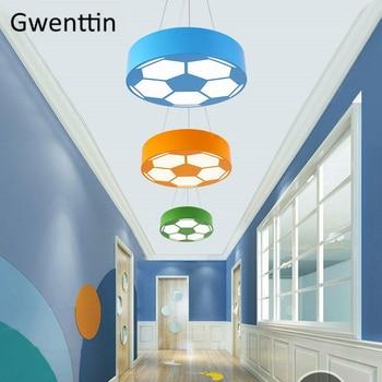 Color Football Pendant Lights Modern Home Decor Led Hanglamp For Kindergarten Bedroom Lighting Fixtures Luminaire Children Gifts