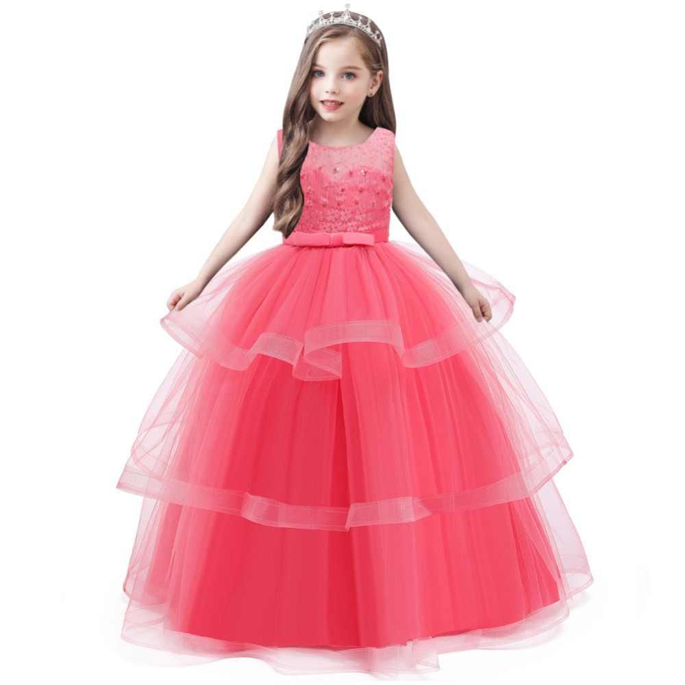 Girls Dress Kids Elegant Lace Sleeveless Party Princess Dress Flower Girl  Wedding Dress Baby Girl Clothes 20 20 20 20 20 20 Years