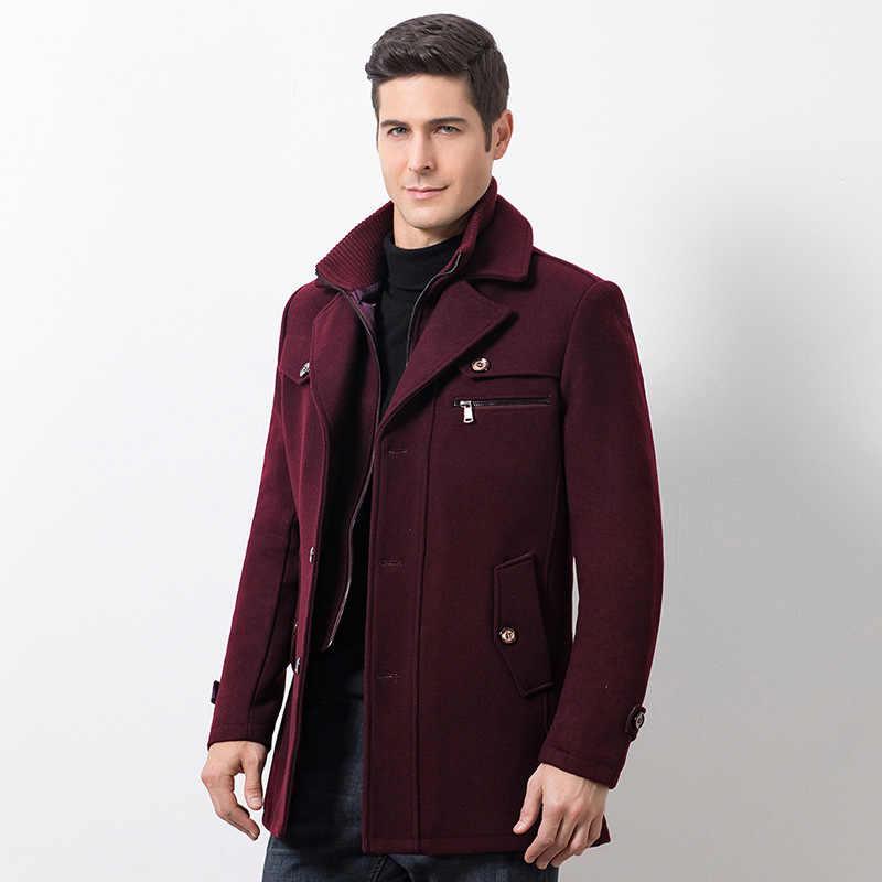 Winter Mannen Casual Wollen Trenchcoat Fashion Business Medium Solid Thicken Slim Windbreaker Overjas Jas Mannelijke Plus Size 5XL