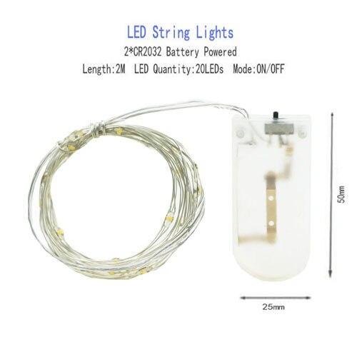 1/2/5/10 M Медный провод светодиодные огни строки праздник освещение гирляндой Рождественский венок для год свадебная вечеринка украшения - Испускаемый цвет: CR2032 Battery-2M