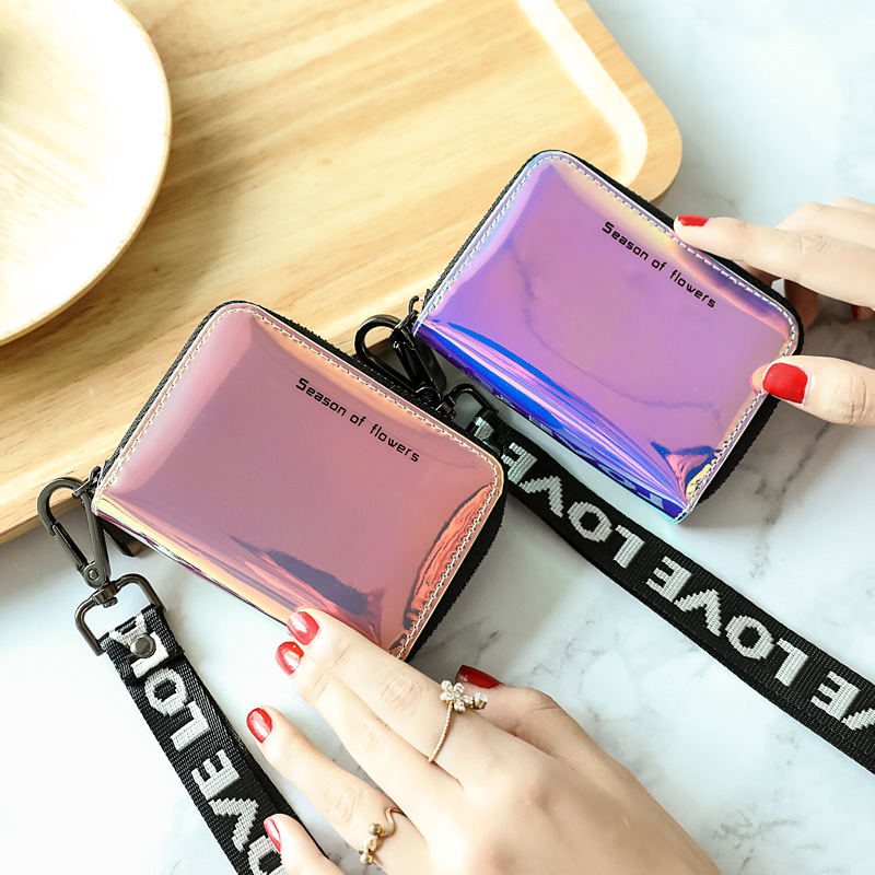 SMILEY SUNSHINE Holographic Small Wallet Women Luxury Brand Mini Women Wallets Purses Female Short Coin Zipper Purse Card Vallet
