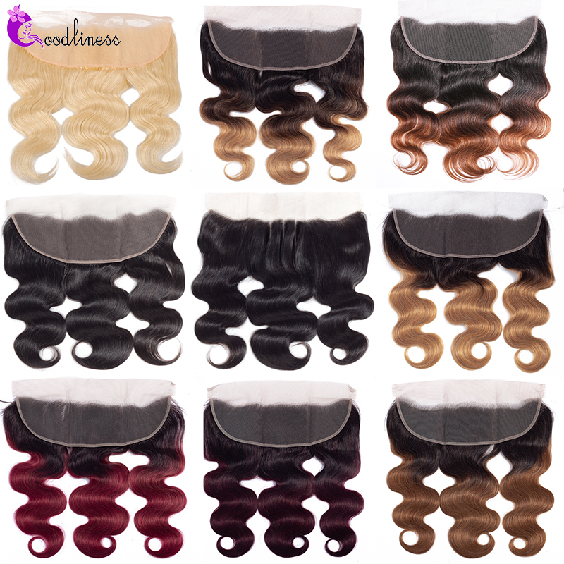 Pre Plucked 13x4 Lace Frontal Closure Burgundy 99J Three Tone Ombre Brazilian Human Hair Lace Closure 613 Frontal Body Wave Remy