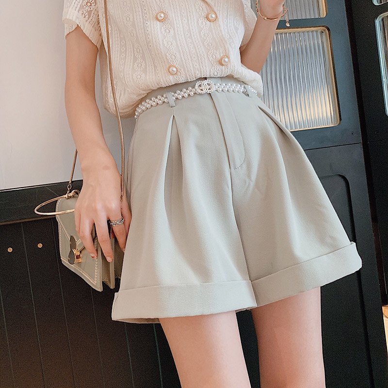 Mishow 2019 Summer New Collection Business Casual Elegant Solid High Waist Short Pants MX19B2474