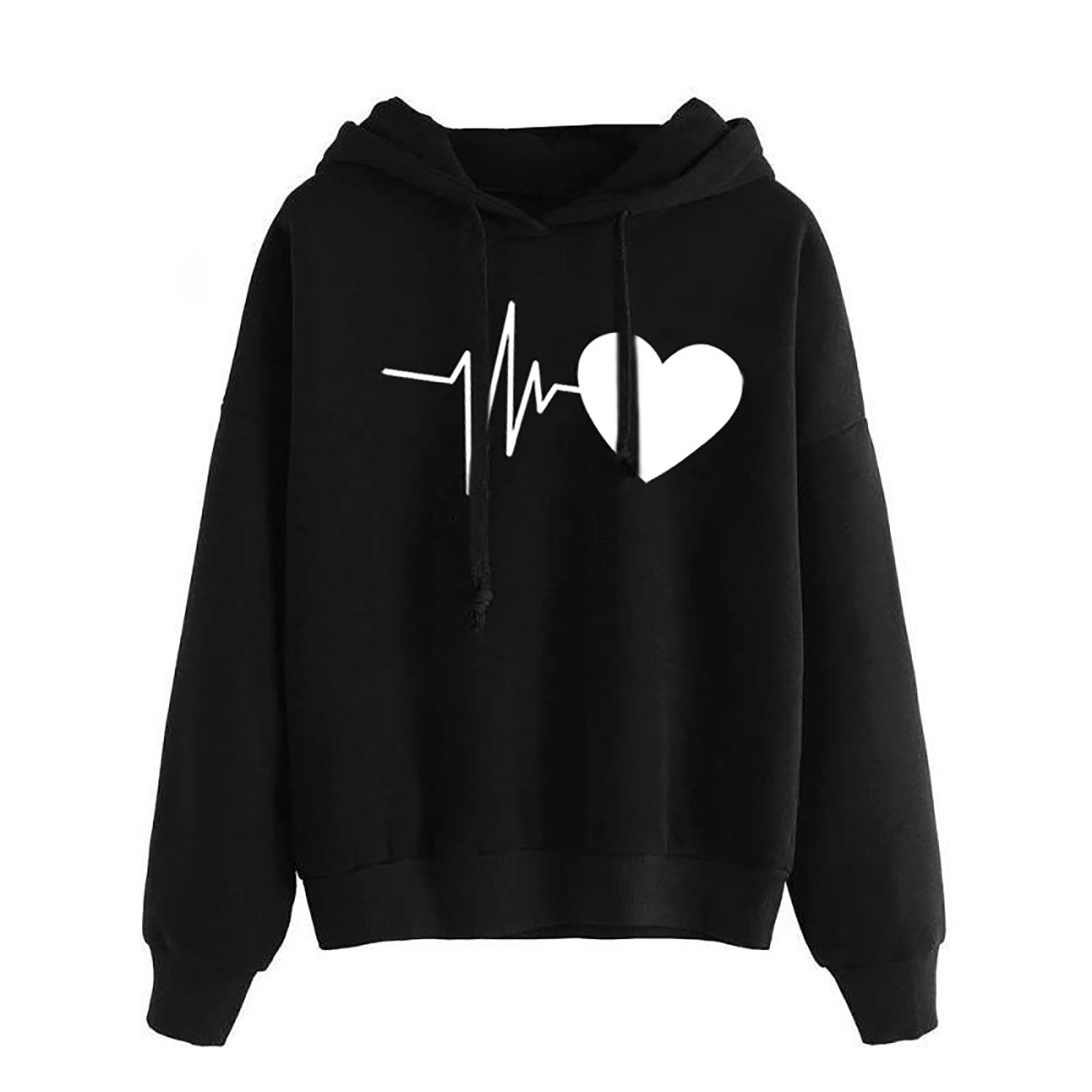 Women Hoodies Casual Love Print Solid Loose Drawstring Sweatshirt Long Sleeve Hooded 2020 Spring Autumn Female Pullover Tops 1