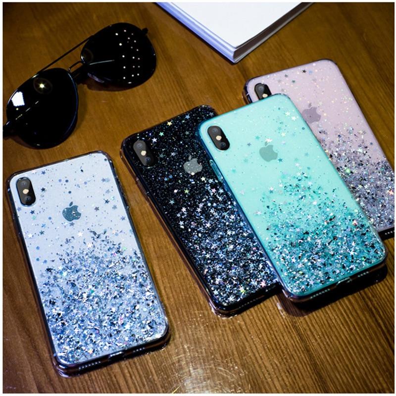 Lujo Bling lentejuelas Star Glitter funda para iPhone x XR 11 Pro