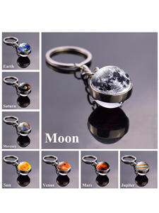 Keychain Moon Keyring Glass-Ball Art-Picture Earth Planet Solar-System Nebula-Space Sun-Mars