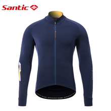 Santic Men's Cycling Jersey Winter Full Zipper Long Sleeve Bicycle Shirts Breathable Fleece Thermal Bike Reflective Sportswear
