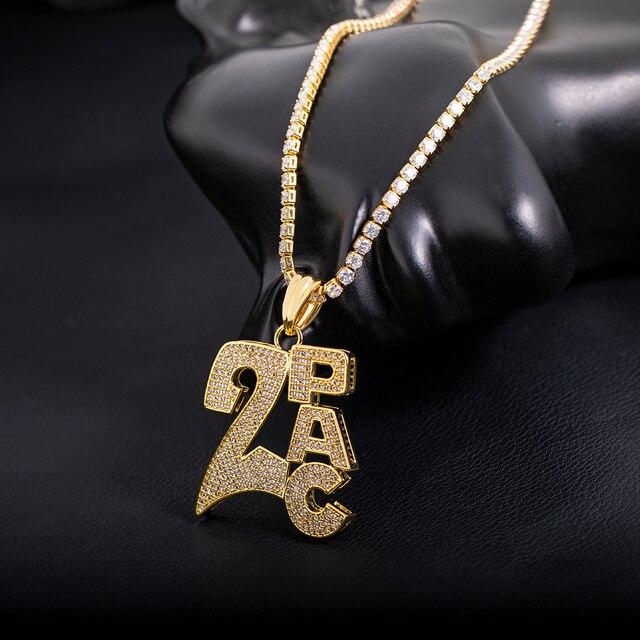 Bonne qualité véritable or couleur préservation par galvanoplastie 2PAC pendentif collier étoile bijoux hommes Hip Hop lien chaîne glace Ou