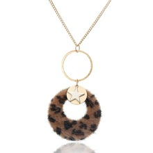 Plush leopard pendant autumn/winter fashion sweater necklace jewelry