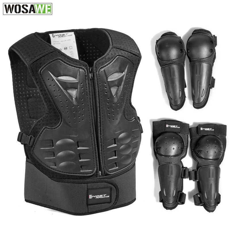 Children's Motocross Armor Suit Full Body Protective Gear Kids Motorcycle Sports Chest Protection Knee Pads Spine Back Support|Combinations| |  - title=