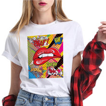 Милая цветная футболка с губами Мужская забавная летняя рисунком