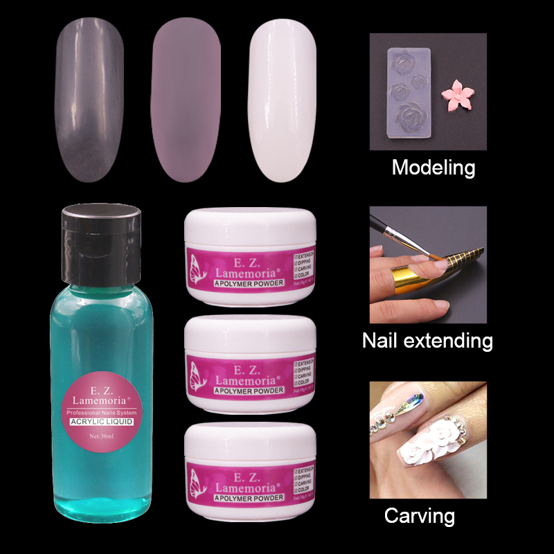 Multi-Function Acrylic Powder Nail Kit Dip Powder System Set Acryl Liquid Polymer Poly Builder Crystal Nail Art Set Clear Pink