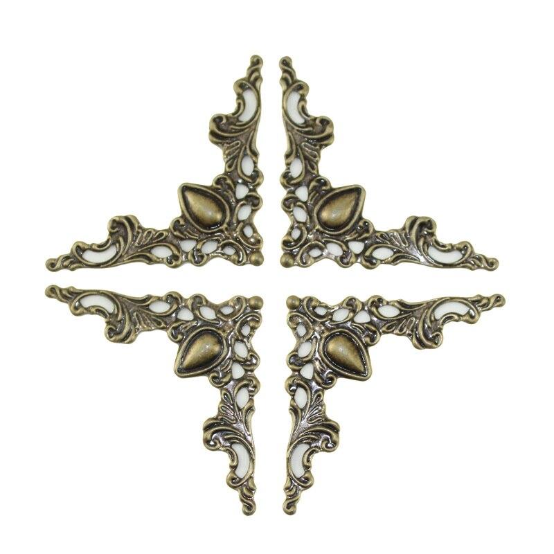 Antique Openwork Metal Angle Bronze Corner Brackets For Notebook Cover Menus Photo Framing Wood Jewelry Box Furniture Decorative