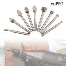 20pcs Set HSS Routing Titanium Milling Wood Rotary Knife File Cutters Woodworking Carving Carved Cutter Tools Accessories