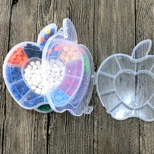 Storage box for girl hair accessories Jewelry Small bead Transparent Plastic Box apple shape Case Holder Craft Organizer