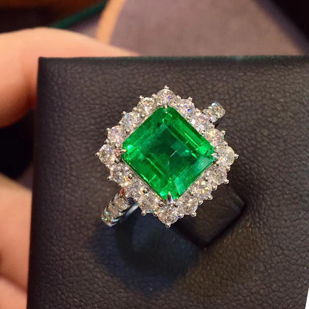 2.965CT 8.23*8.38mm Natural Emerald Green Gemstones Diamond Engagement Wedding Rings For Women Fine Ring 14K White Gold
