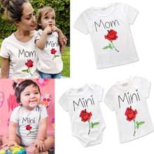 Fashion Rose Print Mother Daughter Family T Shirt Matching Outfits Mom And Baby T Shirt(China)