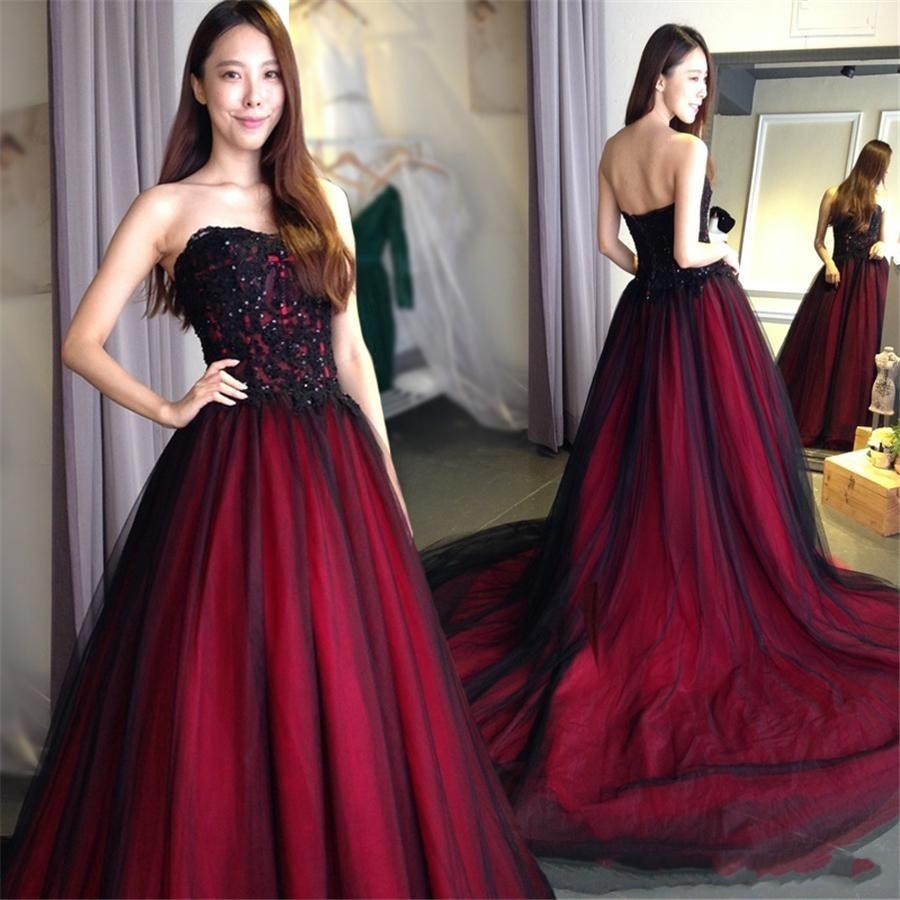 2020 Black And Burgundy Gothic Wedding Dresses Sweetheart Lace Up Back Floor Length Long  Robe De Soiree Vestido Longo De Festa