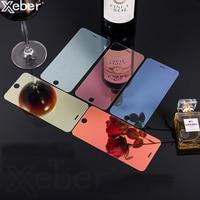 Cristal templado con espejo colorido para móvil, película protectora de pantalla de lujo 9H para iPhone 11 12 Pro Max X XR XS 5 5S 5C SE 2 Mini 6 6S 7 8 Plus