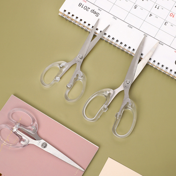 JIANWU 1pc Simplicity Transparent Handle Stationery Scissors Home Furnishing Soft Decor Journal Cutting Tools Office Supplies