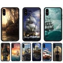 Vela pirata navio telefone casos para huawei p9 p10 p20 p30 p40 lite por psmart 2019