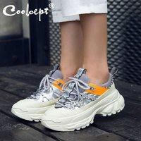 Coolcept Real Leather Sneakers For Women Thick Sole Platform Casual Shoes Fashion Crystal Women Vulcanized Shoes Size 35 39