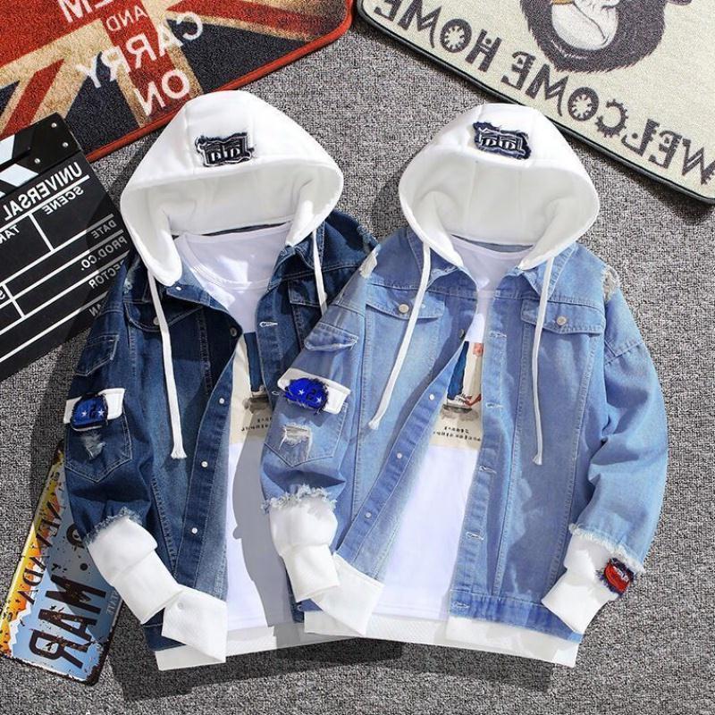 H62b4d9d2691a4cf19315c6726bac59dbj Spring Autumn Hooded Denim Jacket Women's Ripped Hole Jeans Coat Retro Jean Jacket Street Casual Bomber Jacket Outerwear Hoodies