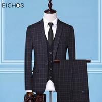 (Jacket+Vest+Pants) Mens Suit Spring Autumn Fashion Plaid Tuxedo Party Suit Male Casual Single Button Slim Fit Men Wedding Suits