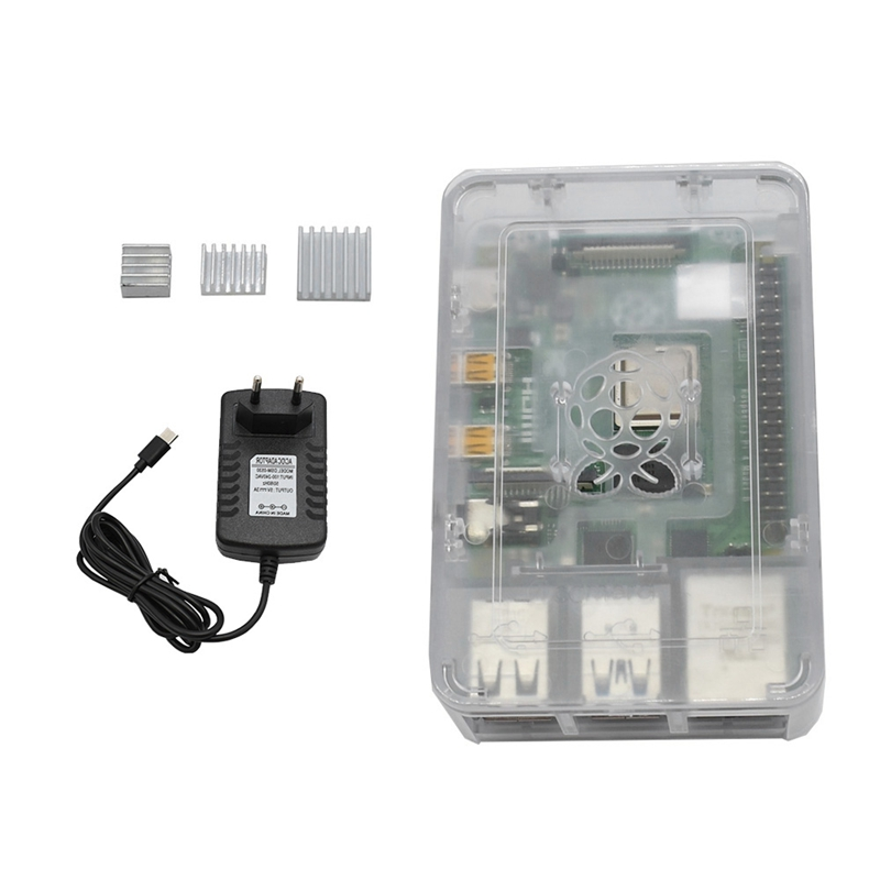 For Raspberry Pi 4 Model B ABS Case 2G RAM DIY Kit With Heatsink 5V 3A Power Adapter For Raspberry PI(EU Plug)