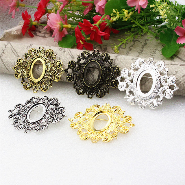 Fit 18x25mm Vintage Oval Blank Setting Bezel Blank Base Cabochon Brooch with Base For DIY Making  Accessories 3pcs/lot K05280