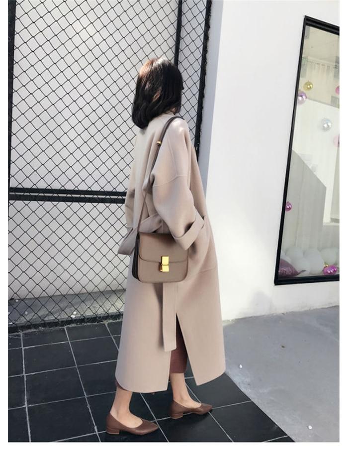 Liva girl Long Coat Winter Coat Women Belted Solid Coat Women's Jacket Women's 5 Colors Coat wool Coat 12