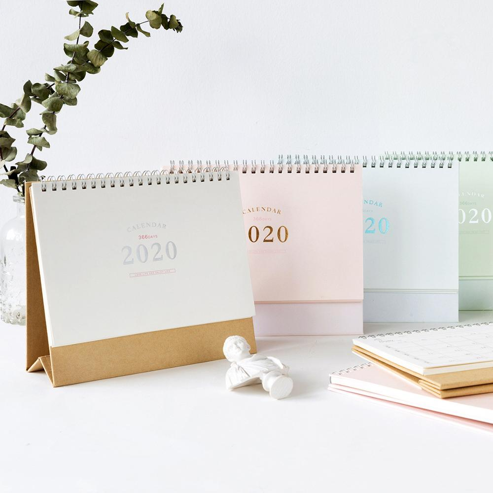 2020 Simple Pink Green Desk Calendar DIY Hand Painted Notepad Calendars Daily Schedule Planner 2020.01-2020.12