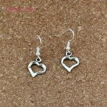 Cute Heart Charm Earrings silver Fish Ear Hook 30pairs Antique Chandelier DIY Jewelry 15x36mm A-538e