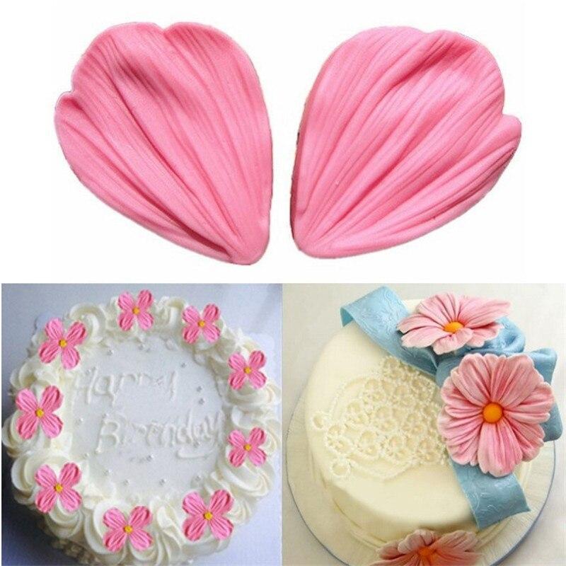 €0.61 18% СКИДКА|Лепестки цветов розы тисненая силиконовая формочка в виде цветов делая инструменты для украшения тортов из мастики шоколадные конфеты формы из полимерной глины|Формы для тортов| |  - AliExpress