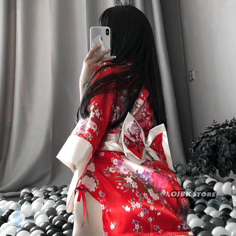 Japanese Kimono Sexy Cosplay Outfit For Women Traditional Style Robe Yukata Costumes Pajamas Soft Silk Belt 3pcs Set Black Red 2