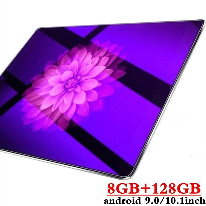 10.1 pouces 2.5D écran 3G 4G LTE double carte SIM tablette Octa Core 8GB RAM 128GB ROM Android 9.0 tablettes Wifi GPS FM