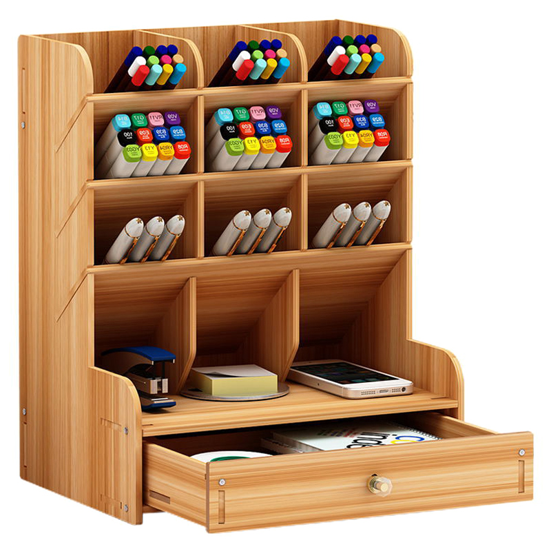 Wooden Multi-function Desktop Pen Holder 5 Layer Desk Storage Box Portable With Drawer Office School Storage Box Stationery Sto