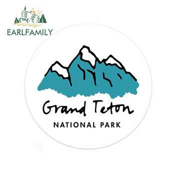 EARLFAMILY 13cm x 12.4cm Grand Teton National Park Funny Car Stickers Bumper Windows Laptop Decals Waterproof Vinyl Decor image