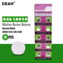 10 pièces de piles alcalines DEAH 1.55V AG6 LR920, 371A LR920W CX69 SG6 280 – 31, pour montres, jouets, télécommande